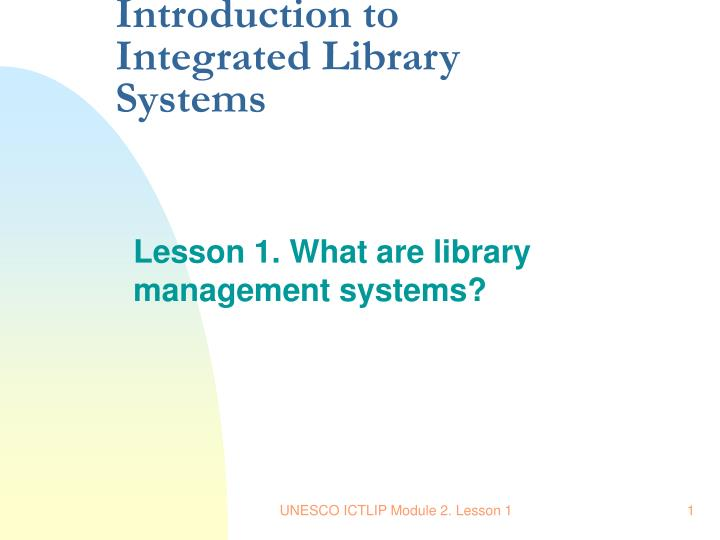 introduction of library system