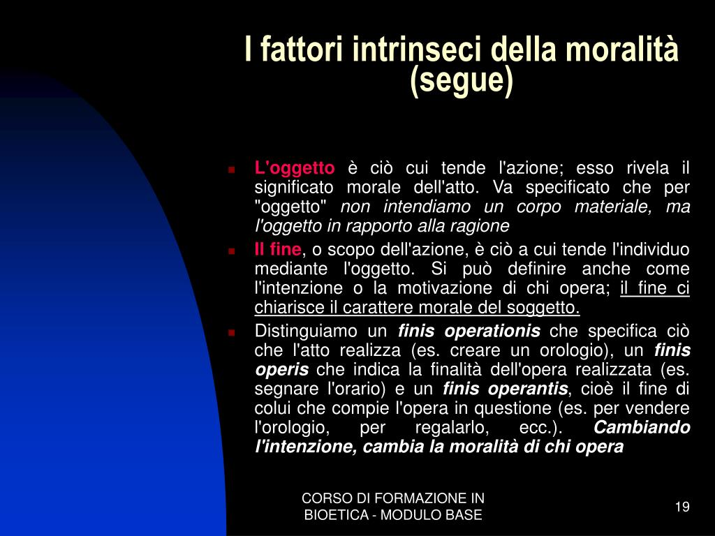 I fattori intrinseci della moralità
