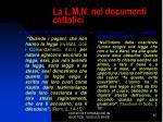 la l m n nei documenti cattolici