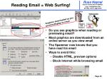 reading email web surfing