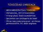 toxicidad cardiaca