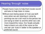 hearing through noise