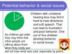potential behavior social issues