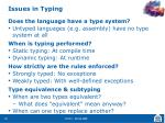 issues in typing