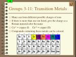 groups 3 11 transition metals