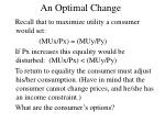an optimal change