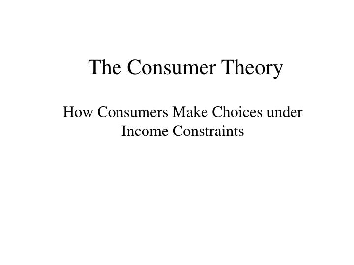 the consumer theory n.