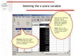 deleting the z score variable