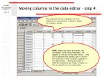moving columns in the data editor step 4
