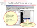 probabilities for d in the data editor