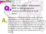 how does yahoo differentiate itself so that prospective employees will want to work there