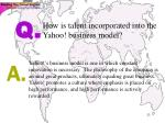 how is talent incorporated into the yahoo business model