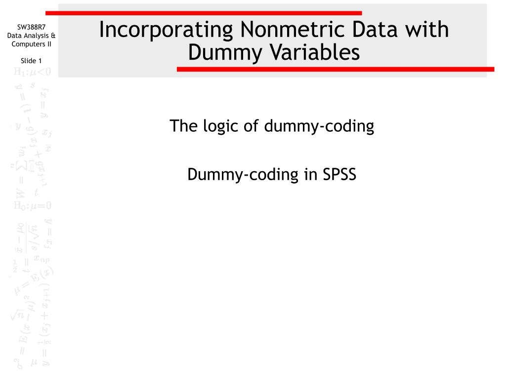 incorporating nonmetric data with dummy variables l.