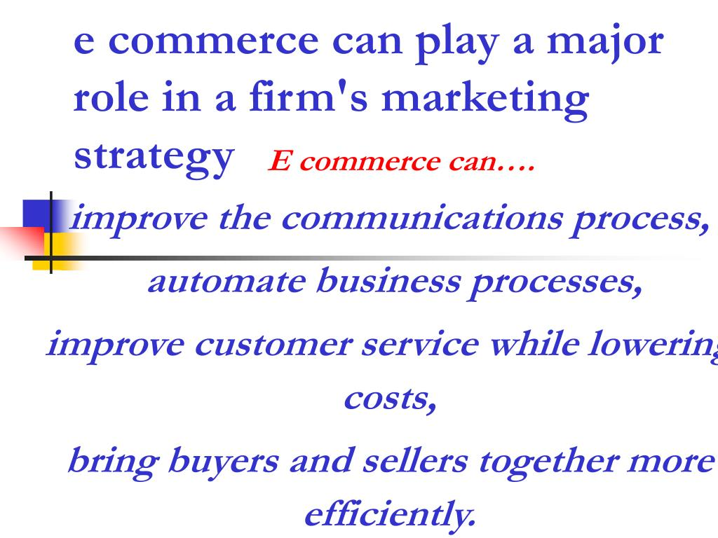 e commerce can play a major role in a firm's marketing strategy