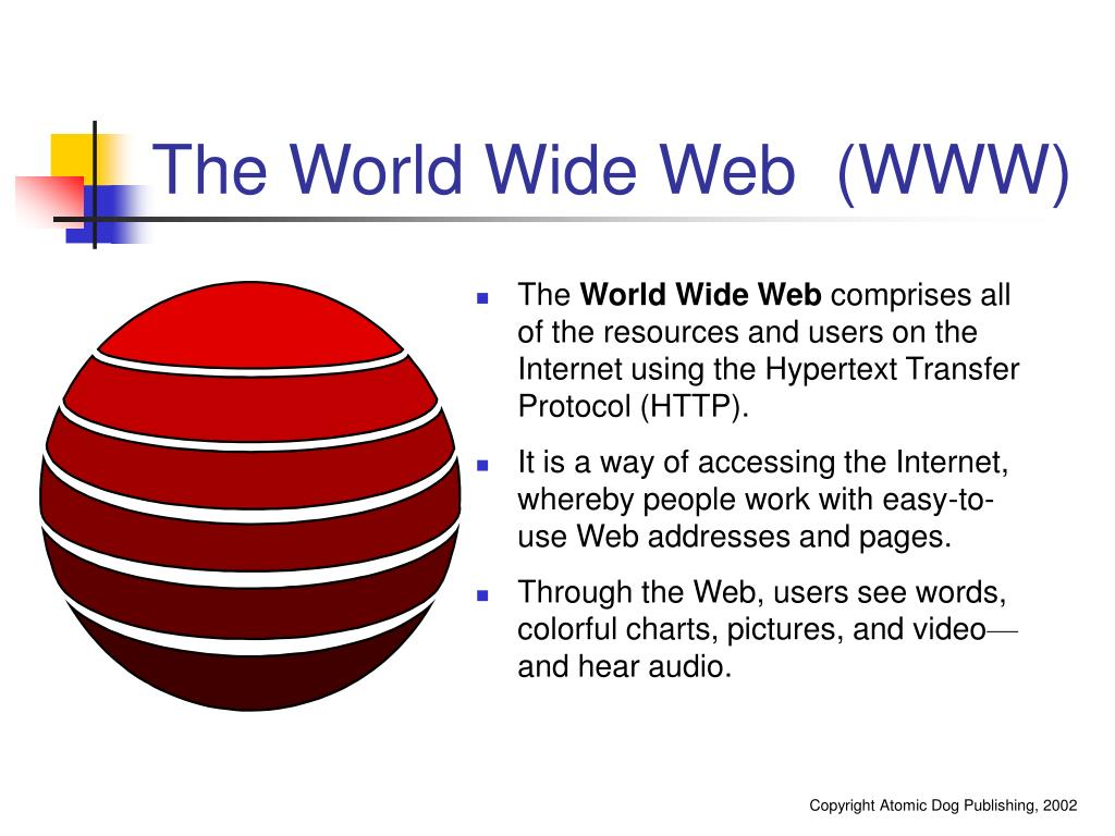 The World Wide Web  (WWW)