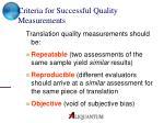 criteria for successful quality measurements