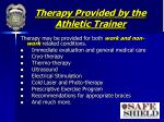 therapy provided by the athletic trainer