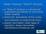 hidden hazards what if analysis