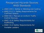 recognized hazards sources ansi standards