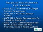 recognized hazards sources ansi standards23