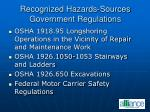 recognized hazards sources government regulations30