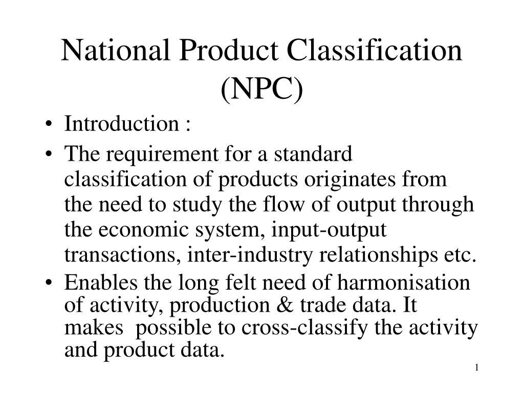 national product classification npc l.