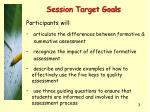 session target goals