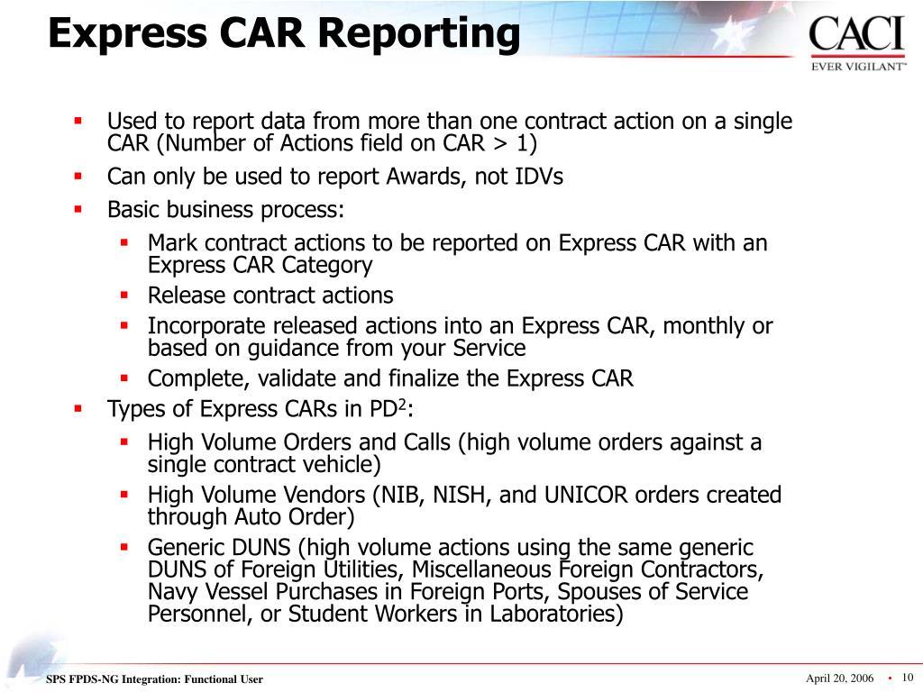 Express CAR Reporting