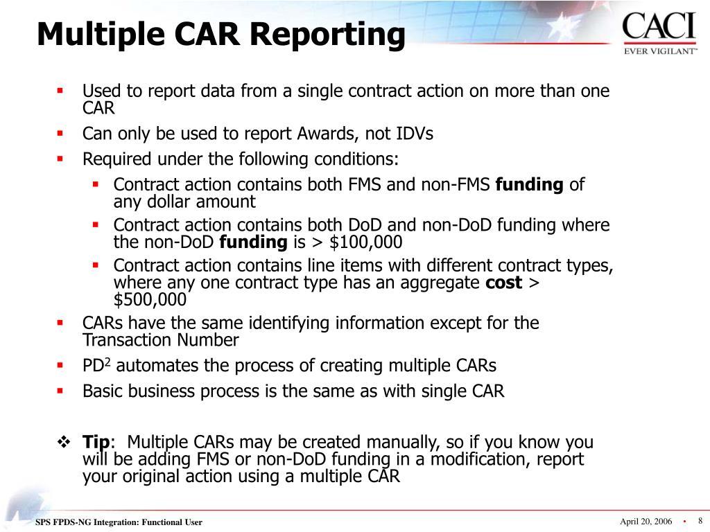 Multiple CAR Reporting