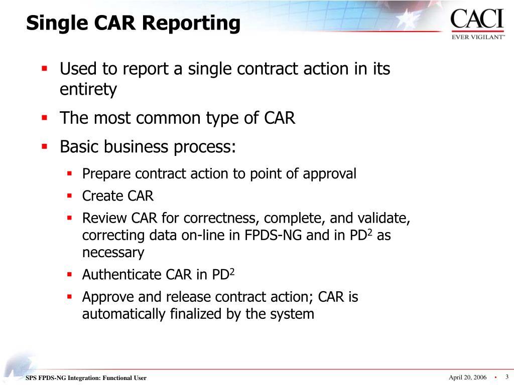 Single CAR Reporting