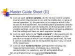 master guide sheet ii