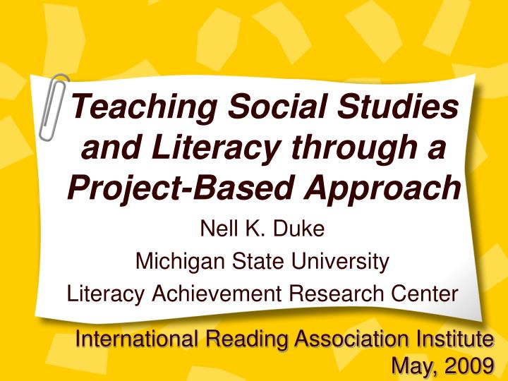 teaching social studies and literacy through a project based approach n.