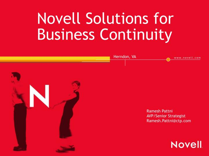 novell solutions for business continuity n.