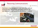 restoring communications