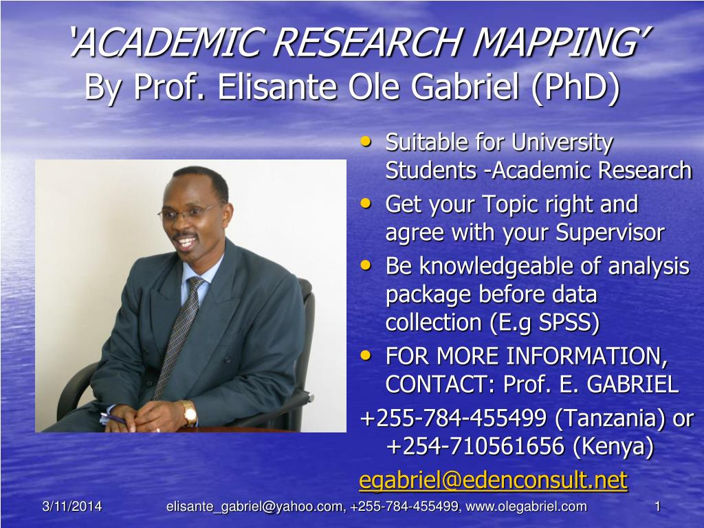 academic research mapping by prof elisante ole gabriel phd l.