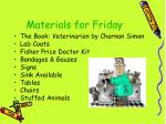 materials for friday