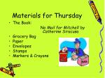 materials for thursday