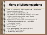 menu of misconceptions