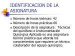 identificacion de la asignatura