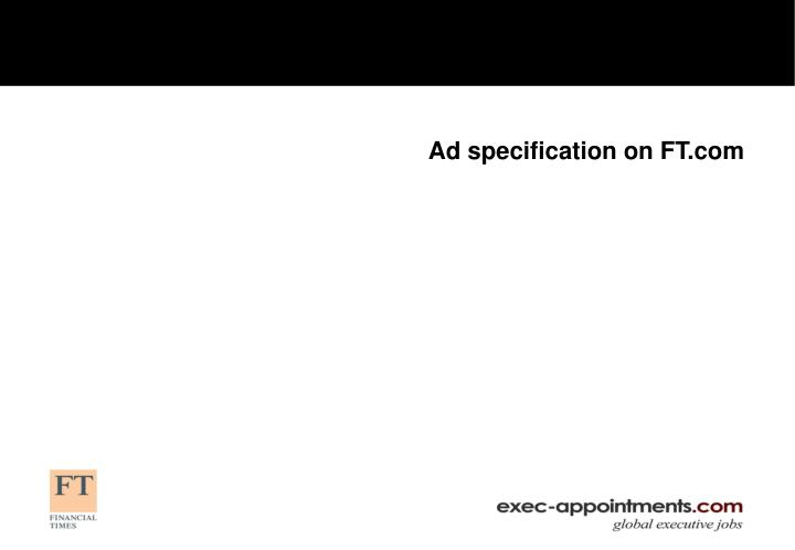 Ad specification on FT.com