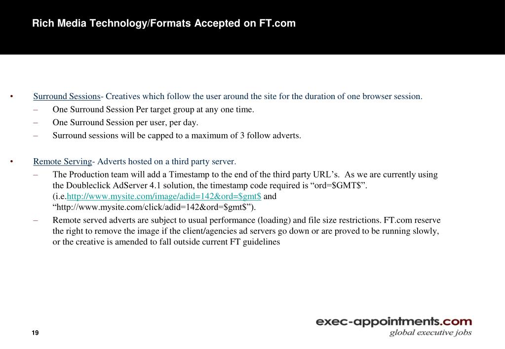 Rich Media Technology/Formats Accepted on FT.com
