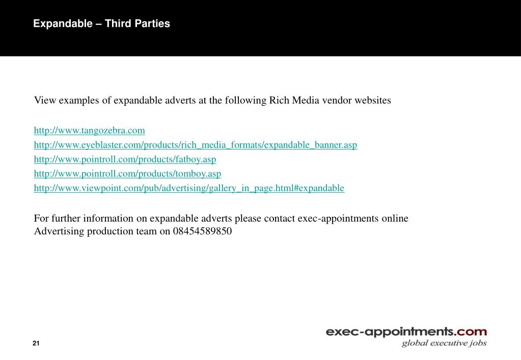 Expandable – Third Parties
