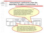 interpreting b coefficients when the dependent variable is transformed 1