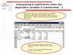 interpreting b coefficients when the dependent variable is transformed 2