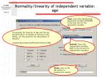 normality linearity of independent variable age27