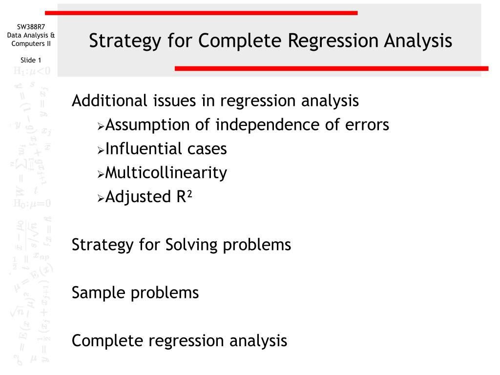 strategy for complete regression analysis l.