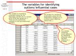 the variables for identifying outliers influential cases