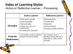 index of learning styles active or reflective learner processing