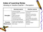 index of learning styles sensing or intuitive learner perception