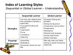 index of learning styles sequential or global learner understanding